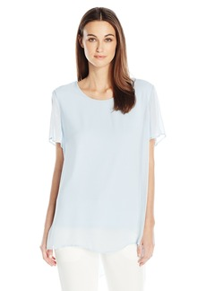 Vince Camuto Women's Short Sleeve Crewneck Chiffon Overlay Blouse  S