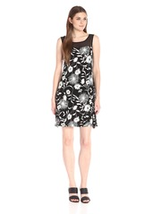 Vince Camuto Women's Short-Sleeve Dandelion Dress Chiffon Yoke