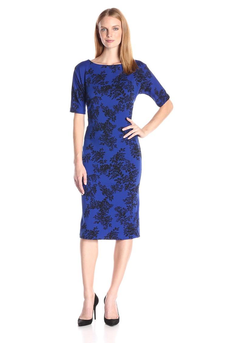 Vince Camuto Women's Short Sleeve Delicate Foliage Scuba Midi Dress