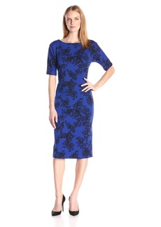 Vince Camuto Women's Short Sleeve Delicate Foliage Scuba Midi Dress
