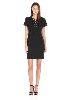Vince Camuto Women's Short Sleeve Dress with Front Grommet Lace up