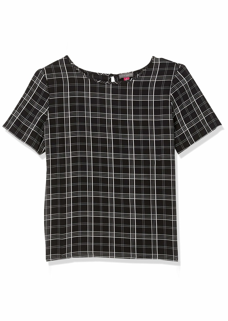 Vince Camuto Women's Short Sleeve Even Plaid Shell