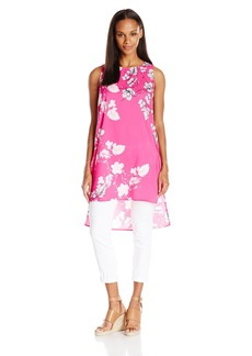 Vince Camuto Women's Short-Sleeve Floral Cascade Long Tunic