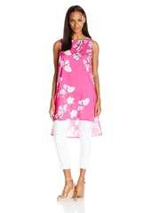 Vince Camuto Women's Short-Sleeve Floral Cascade Long Tunic  Medium