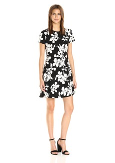 Vince Camuto Women's Short Sleeve Fresco Blooms Flare Dress