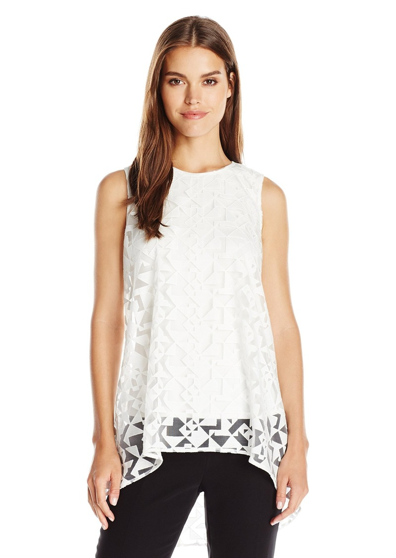Vince Camuto Women's Short Sleeve High Low Geo Burnout Overlay Blouse  X-Small