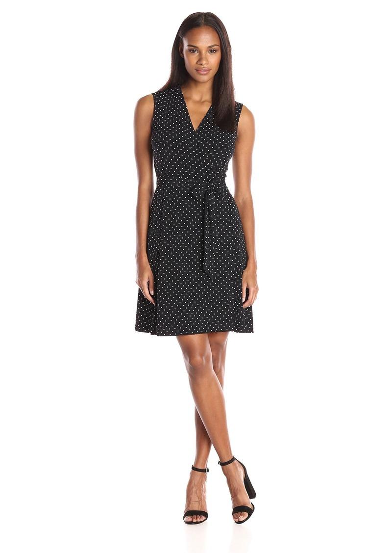 Vince Camuto Women's Short Sleeve Island Pin Dot Wrap Dress