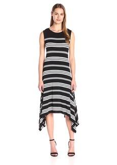 Vince Camuto Women's Short Sleeve Island Stripe Shark Bite Dress