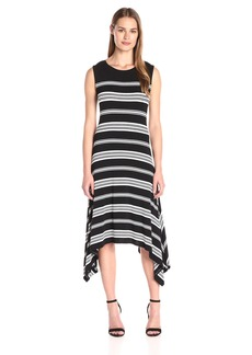 Vince Camuto Women's Short Sleeve Island Stripe Shark Bite Dress