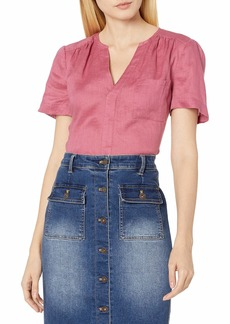 Vince Camuto Women's Short Sleeve One Pocket Button Down Linen Blouse