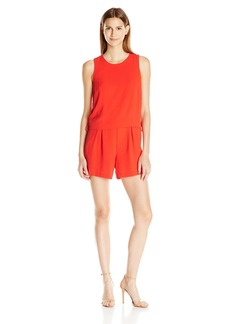 Vince Camuto Women's Short Sleeve Popover Romper W/ Side Lace-up