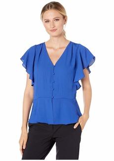 Vince Camuto Women's Short Sleeve Rumple Georgette Peplum V-Neck Blouse