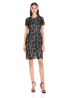 Vince Camuto Women's Short Sleeve Scallop Lace Dress