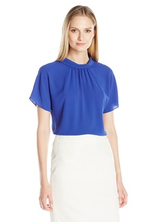 Vince Camuto Women's Short Sleeve Shirred Mock Neck Blouse