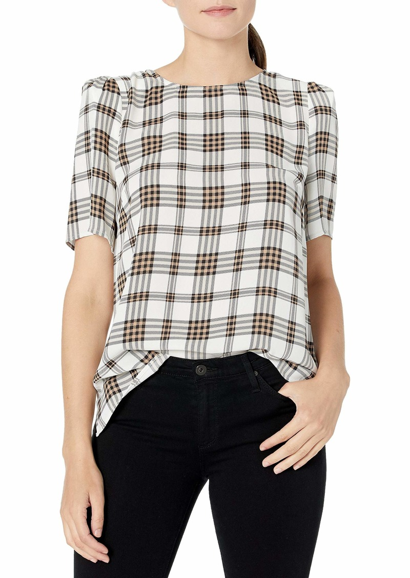 Vince Camuto Women's Short Sleeve Shoulder Plaid Blouse  Extra Small