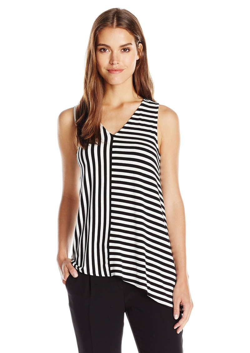 Vince Camuto Women's Short Sleeve Stella Stripe Asym Hem V-Neck Top