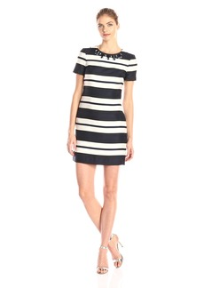 Vince Camuto Women's Short Sleeve Stripped Shift Dress with Beaded Neckline