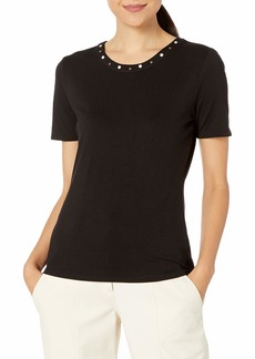 Vince Camuto Women's Short Sleeve Studded Collar Top  Extra Small