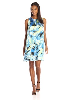 Vince Camuto Women's Short Sleeve Tropical Movements Dress