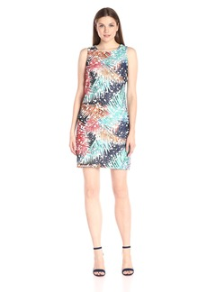 Vince Camuto Women's Short Sleeve Tropical Mystique Printed Lace Dress