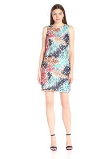 Vince Camuto Women's Short Sleeve Tropical Mystique Printed Lace Dress
