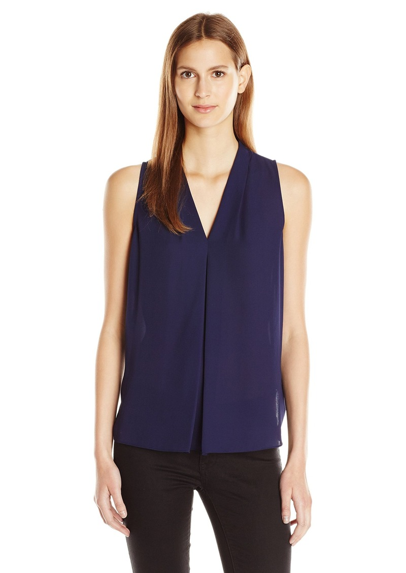 Vince Camuto Women's Short Sleeve V Blouse W/ Inverted Front Pleat