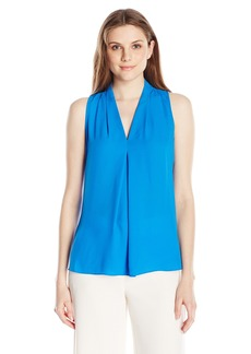 Vince Camuto Women's Short Sleeve V Blouse with Inverted Front Pleat  Medium