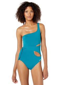 Vince Camuto Women's Shoulder one Piece Swimsuit with Side wrap
