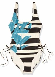 Vince Camuto Women's Side Lace U-Neck One Piece Swimsuit