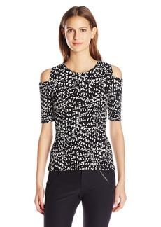 Vince Camuto Women's Size 3/4 Sleeve Mosaic Glimpses Cold-Shoulder Top  Petite M