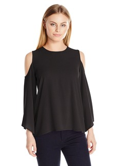 Vince Camuto Women's Size Bell Sleeve Cold-Shoulder Blouse  Petite M