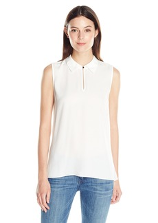 Vince Camuto Women's S/L Collared Keyhole Blouse  X-Large
