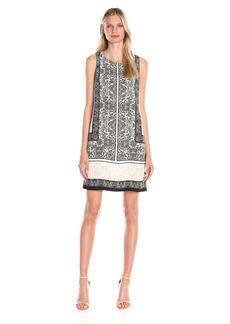 Vince Camuto Women's S/L Delicate Maze Panel Shift Dress