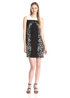 Vince Camuto Women's S/L Delicate Trellis Panel Shift Dress