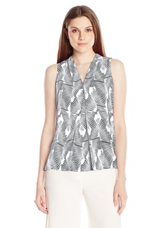 Vince Camuto Women's Sl Graphic Strip Fan Invert Pleat Blouse  X-Small