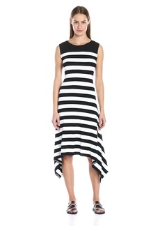 Vince Camuto Women's S/L Lunar Stripe Shark Bite Dress