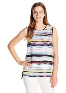 Vince Camuto Women's S/l Mix Media Stripe Enlightment Top  Small