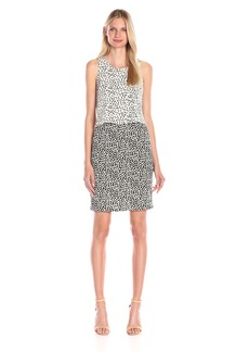 Vince Camuto Women's Sl Shadow Form Clrblk Dress W Crop Ovrly