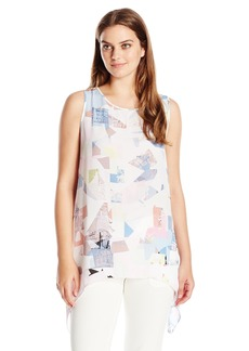 Vince Camuto Women's S/L Shattered Mirage Shark Bite Blouse  X-Small