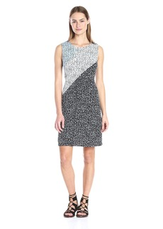 Vince Camuto Women's S/L Speckle Pop Colorblock Dress