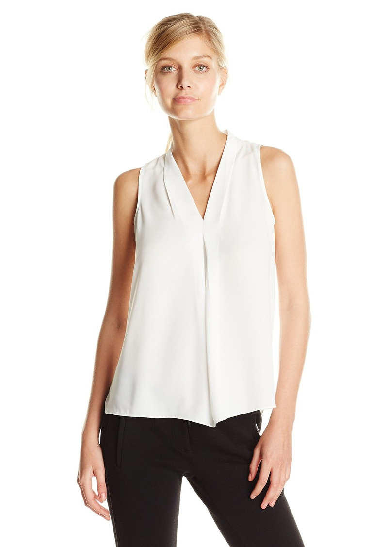 Vince Camuto Women's S/L V Blouse with Inverted Front Pleat  Medium