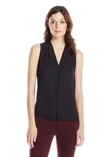 Vince Camuto Women's S/L V Blouse with Inverted Front Pleat  X-Large