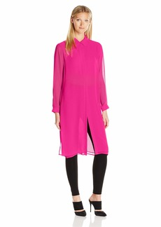 Vince Camuto Women's Sleeve Button Front Long Tunic with Side Slits 674-Pop Pink L