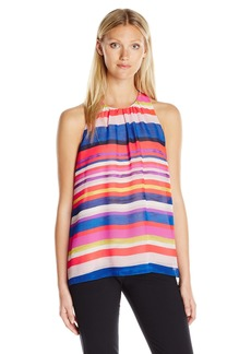 Vince Camuto Women's Sleeveless Abstract Strokes Blouse  L