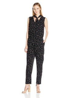 Vince Camuto Women's leeveless Animal Pop Tie-Neck Jumpsuit  mall