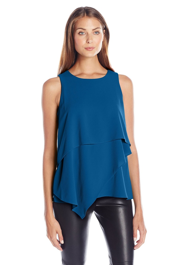 Vince Camuto Women's Sleeveless Asymmetrical Layered Blouse  L