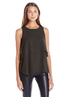 Vince Camuto Women's Sleeveless Asymmetrical Layered Blouse  Medium