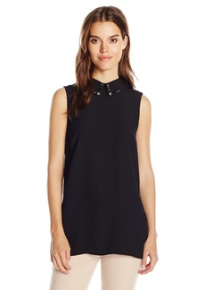 Vince Camuto Women's Sleeveless Blouse with Embellished Collar  M