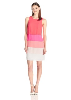 Vince Camuto Women's Sleeveless Colorblock Layered Shift Dress