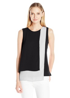 Vince Camuto Women's Sleeveless Colorblocked ayered Blouse  arge